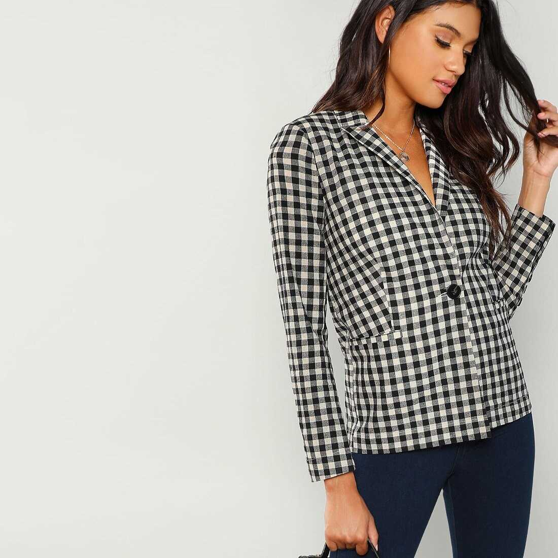 Notched Collar Button Up Blazer in Black and White by ROMWE on GOOFASH