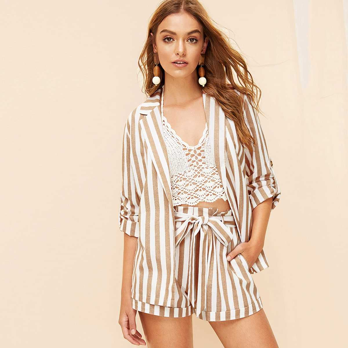 Notched Collar Vertical-stripe Blazer in Multicolor by ROMWE on GOOFASH