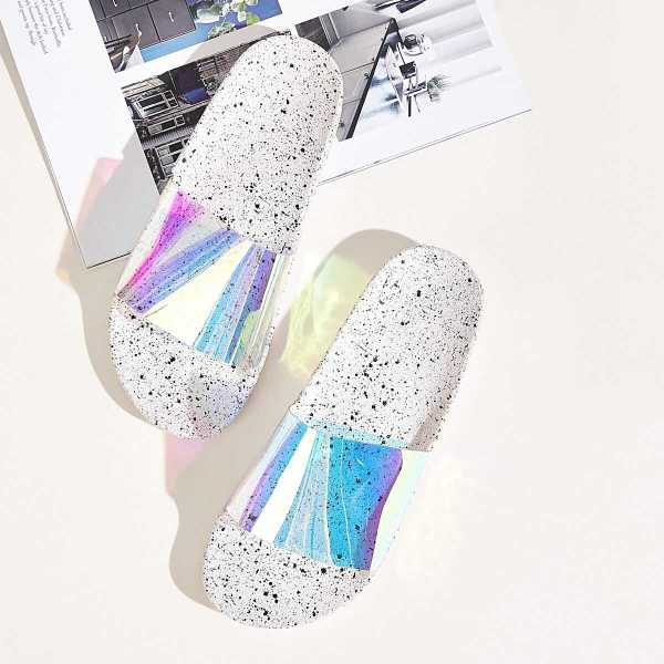 Open Toe Iridescent Sliders in Multicolor by ROMWE on GOOFASH