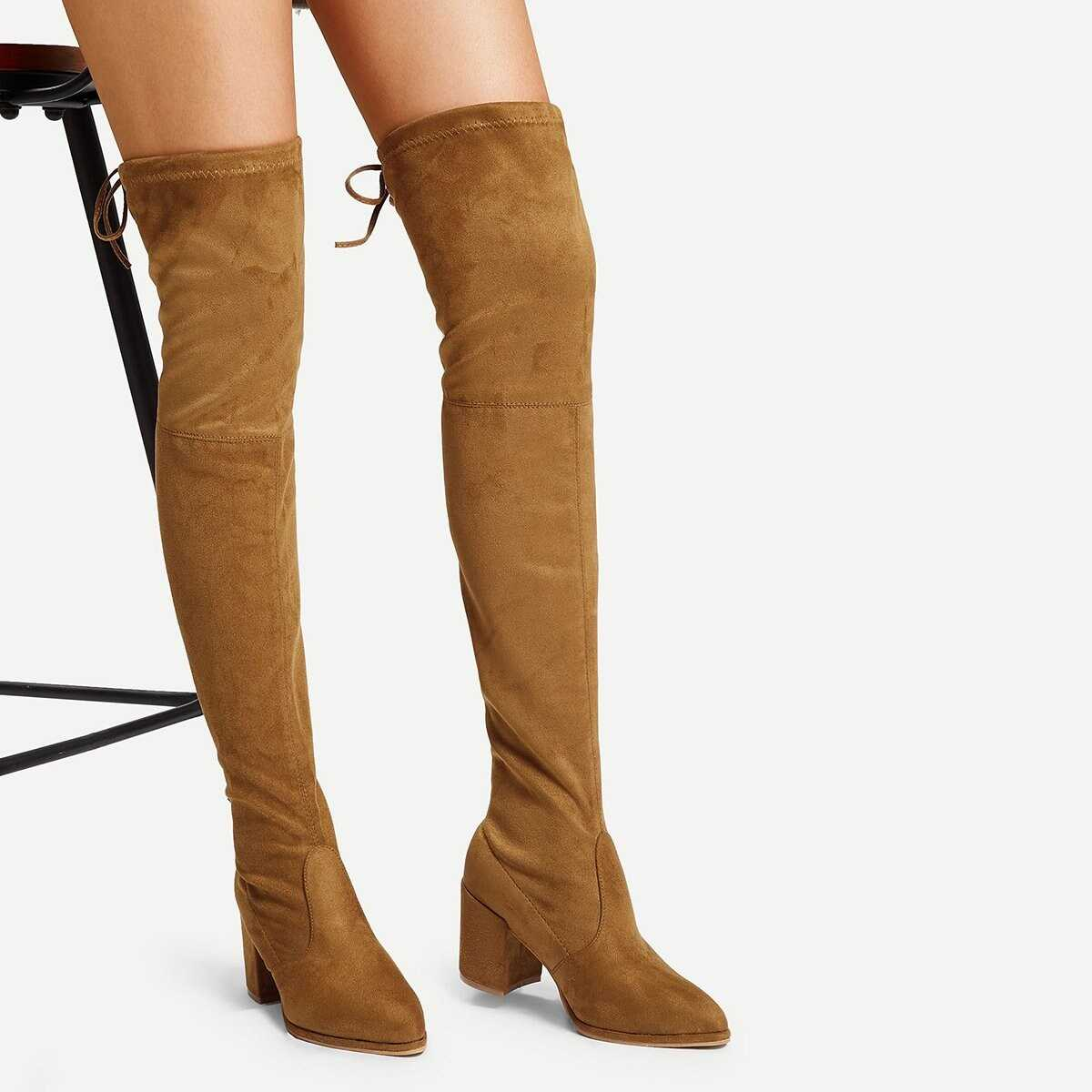 Over The Knee Self Tie Boots - Shein - GOOFASH