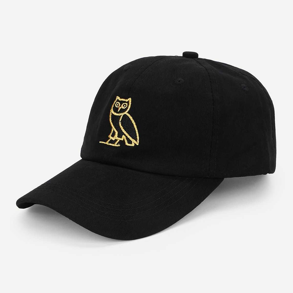 Owl Embroidery Baseball Cap in Black by ROMWE on GOOFASH