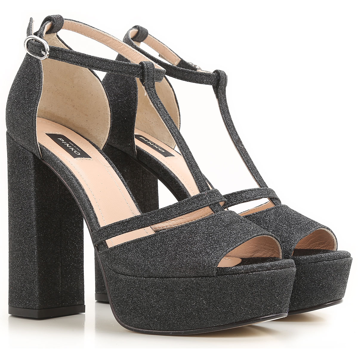 Pinko Sandals for Women On Sale in Outlet glittered black SE - GOOFASH