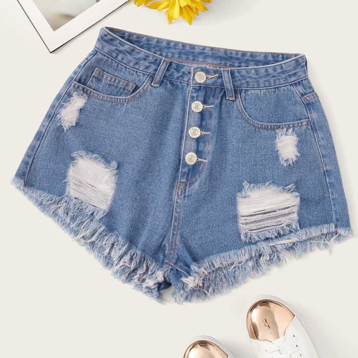 Plus Button Fly Raw Hem Ripped Denim Shorts in Blue by ROMWE on GOOFASH