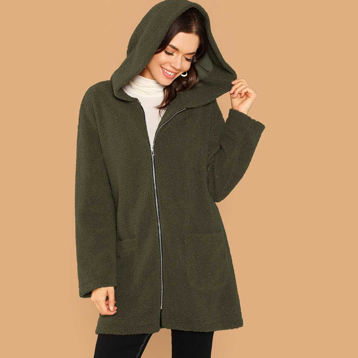 Pocket Front Zip Up Hooded Teddy Coat in Army Green by ROMWE on GOOFASH