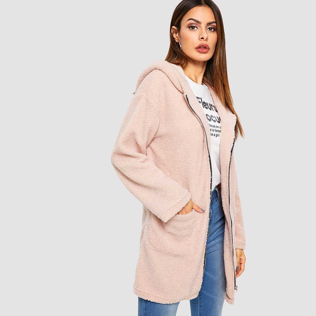 Pocket Front Zip Up Hooded Teddy Coat in Pink by ROMWE on GOOFASH
