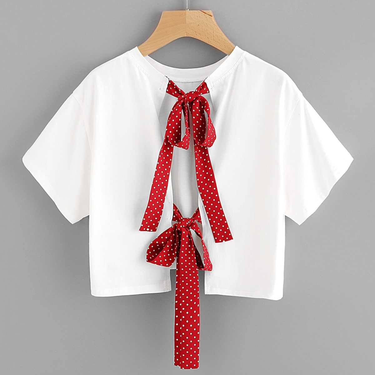 Polka Dot Bow Tie Back Crop Top in White by ROMWE on GOOFASH