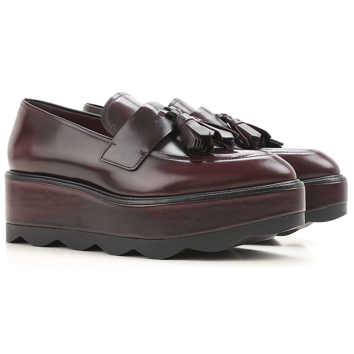 Prada Loafers for Women in Outlet Cordovan USA - GOOFASH