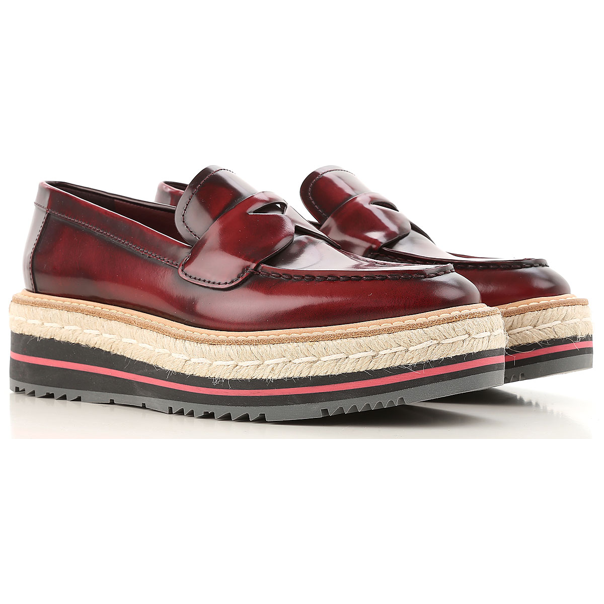 Prada Loafers for Women in Outlet Scarlet Red USA - GOOFASH