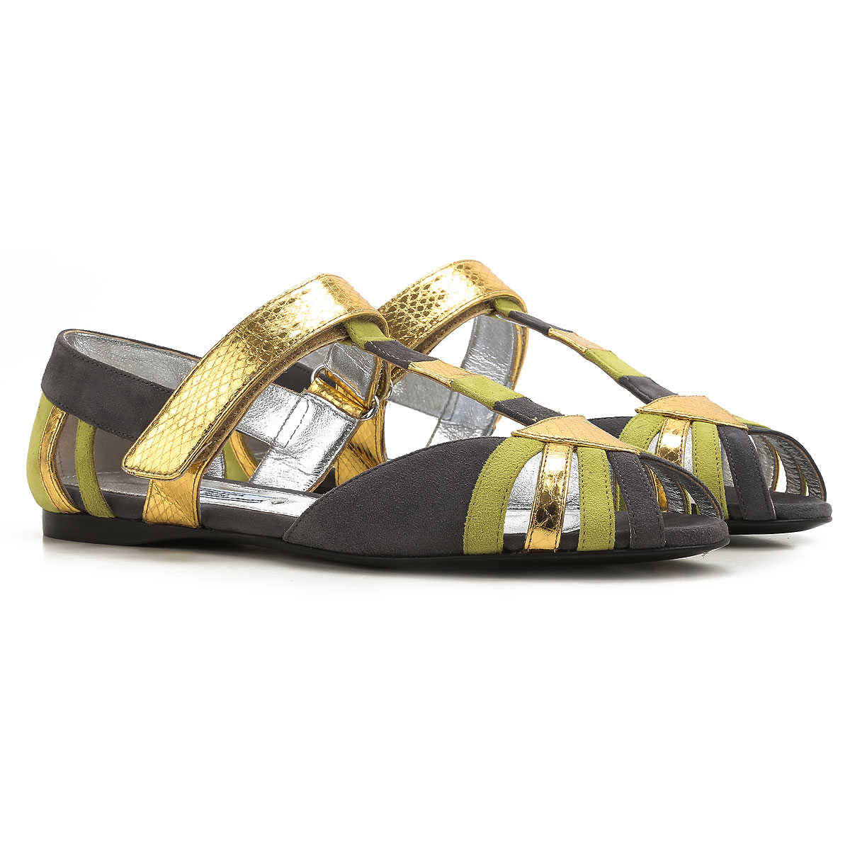 Prada Sandals for Women On Sale in Outlet Grey SE - GOOFASH