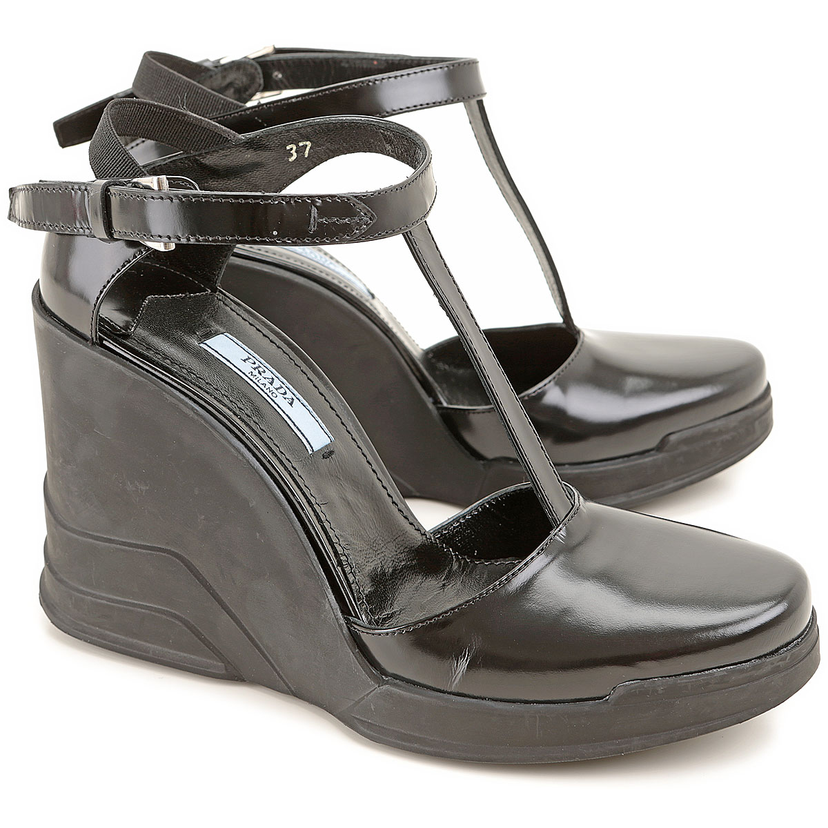 Prada Wedges for Women in Outlet Black USA - GOOFASH