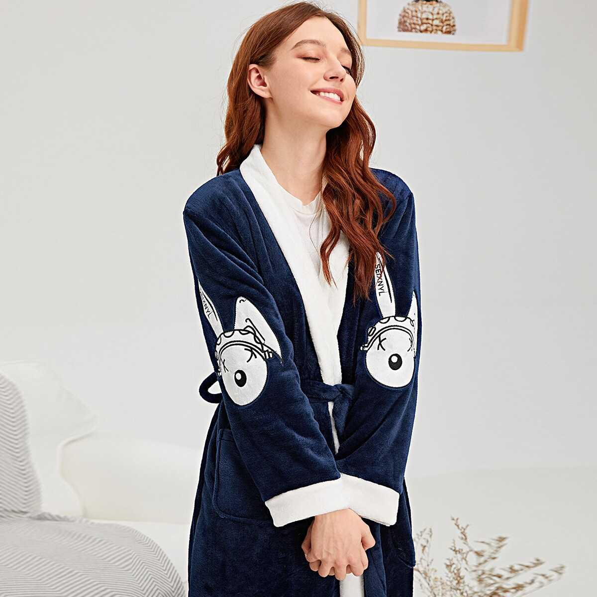 Rabbit Embroidered Self Belted Plush Robe in Navy by ROMWE on GOOFASH