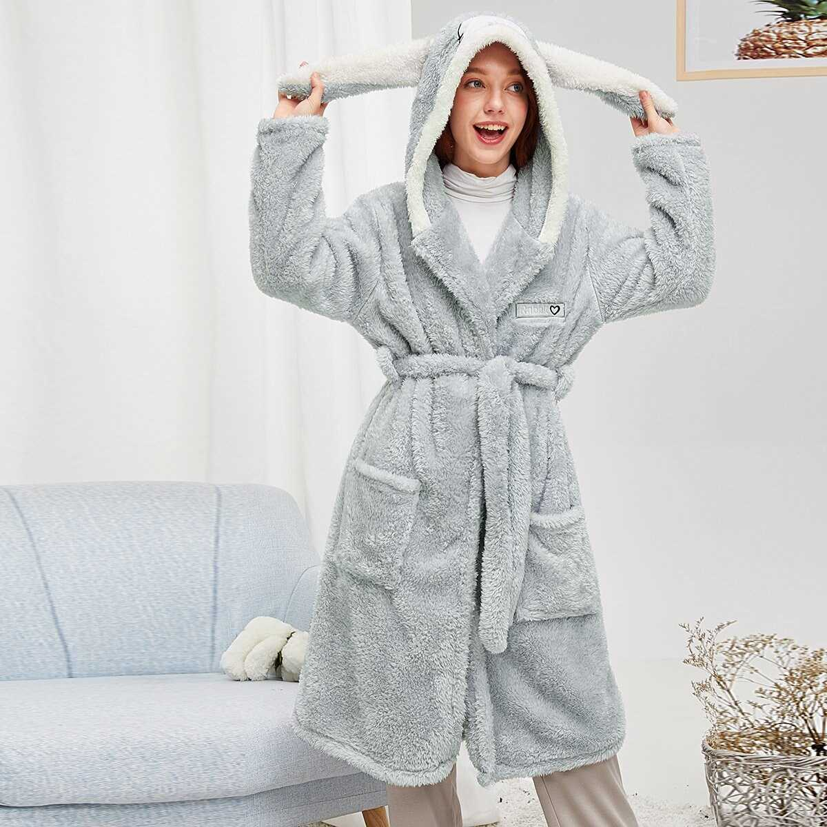 Rabbit Self Belted Plush Robe in Grey by ROMWE on GOOFASH