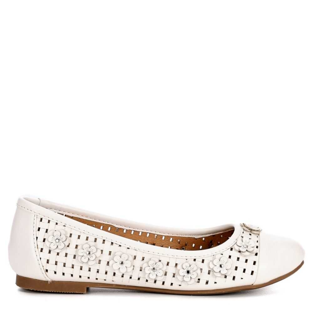 Report Girls Aggie Flats Shoes White USA - GOOFASH