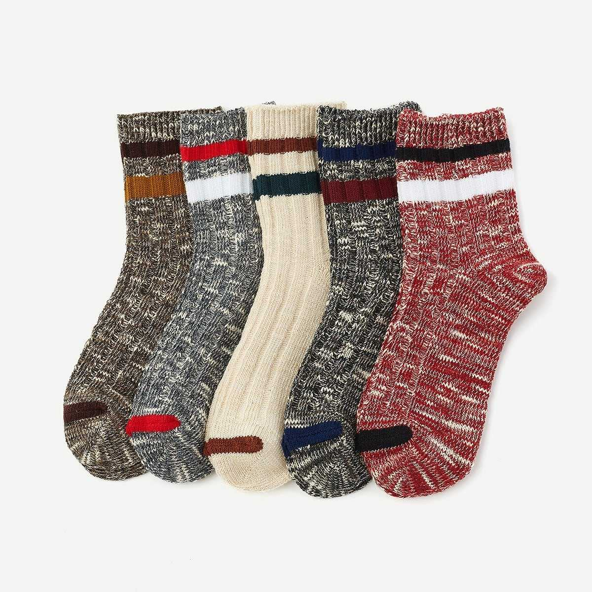 Rib Knit Socks 5pairs in Multicolor by ROMWE on GOOFASH
