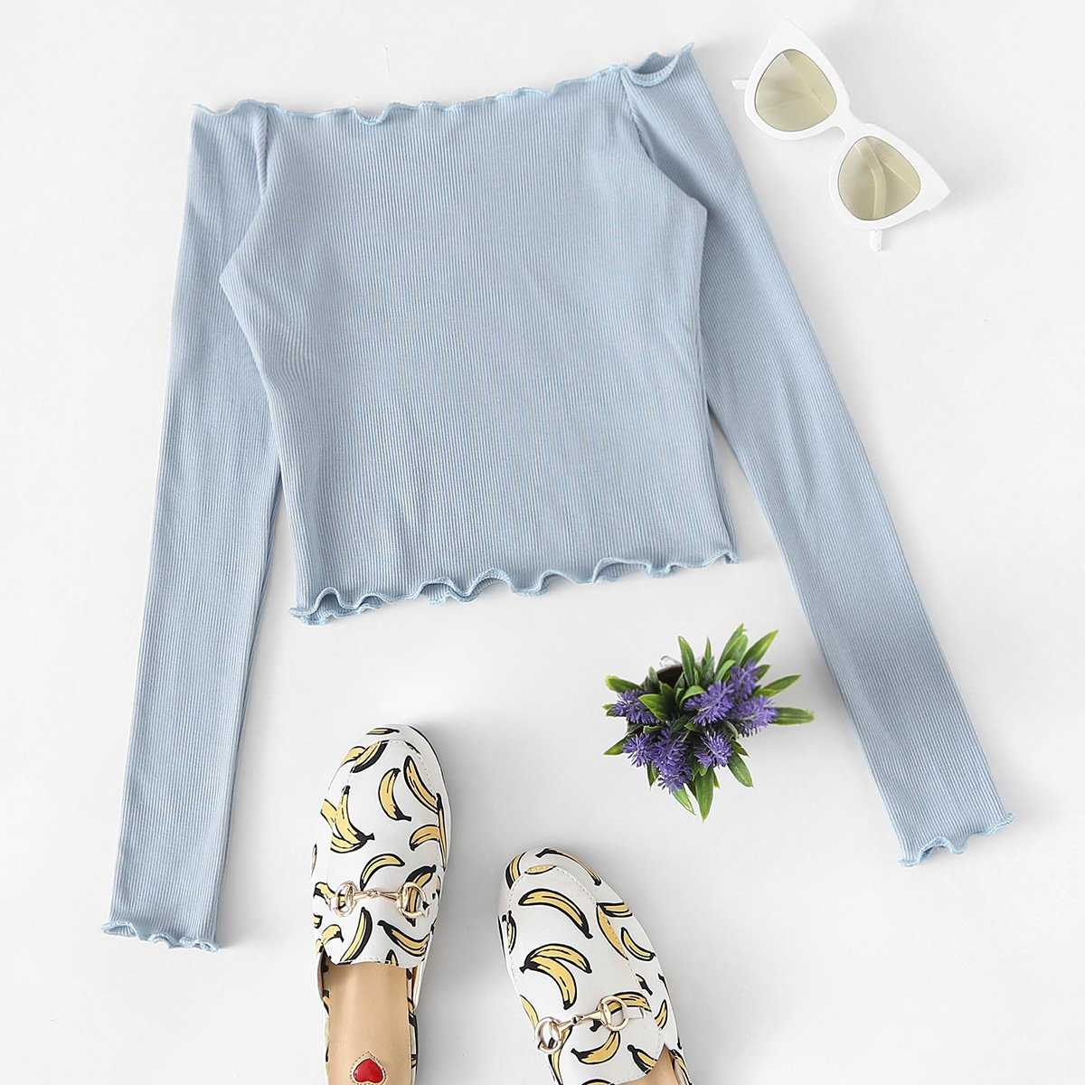 Ribbed Lettuce Trim Tee in Blue by ROMWE on GOOFASH