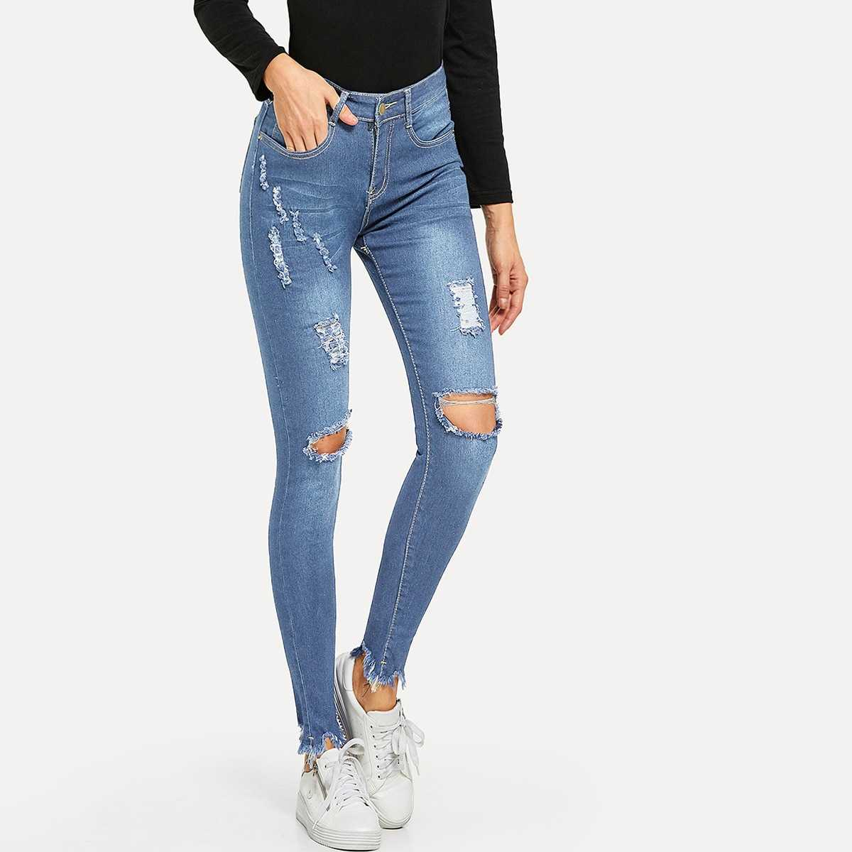 Ripped Raw Hem Jeans in Blue by ROMWE on GOOFASH