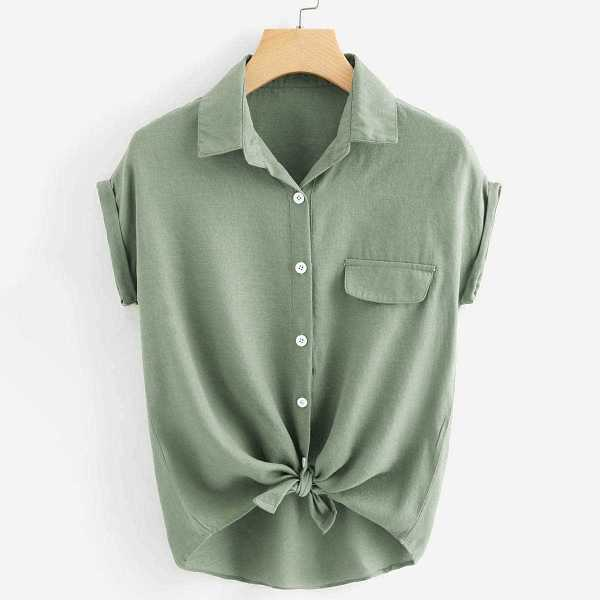 Rolled Cuff Knotted Hem Shirt in Green by ROMWE on GOOFASH