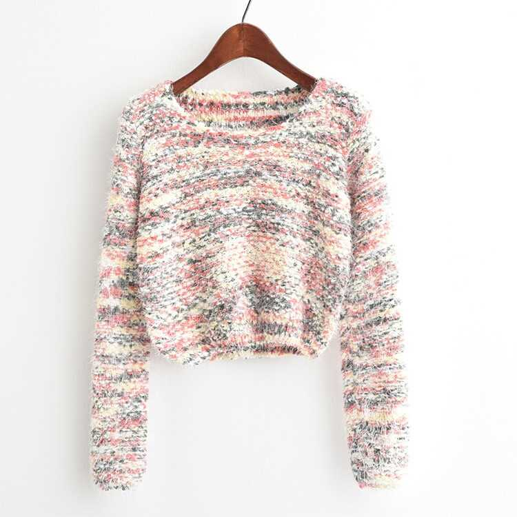 Round Neck Crop Knit Sweater in Multicolor by ROMWE on GOOFASH