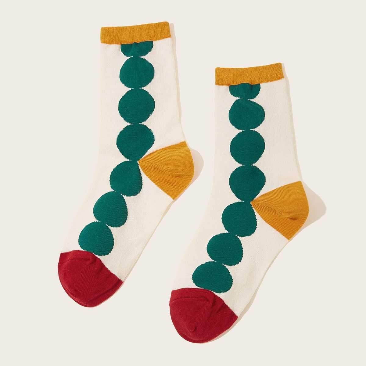 Round Pattern Ankle Socks 1pair in Multicolor by ROMWE on GOOFASH