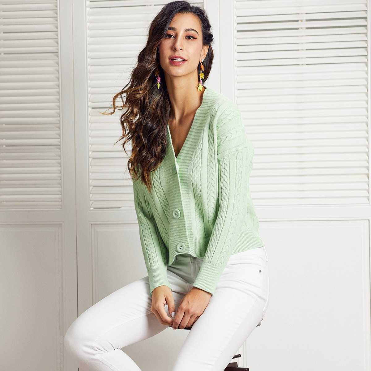 SBetro Drop Shoulder Cable Knit Cardigan in Green Pastel by ROMWE on GOOFASH