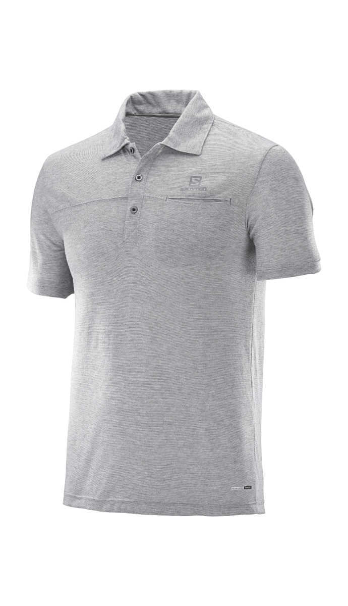 Salomon Explore Polo shirt Grey UK - GOOFASH