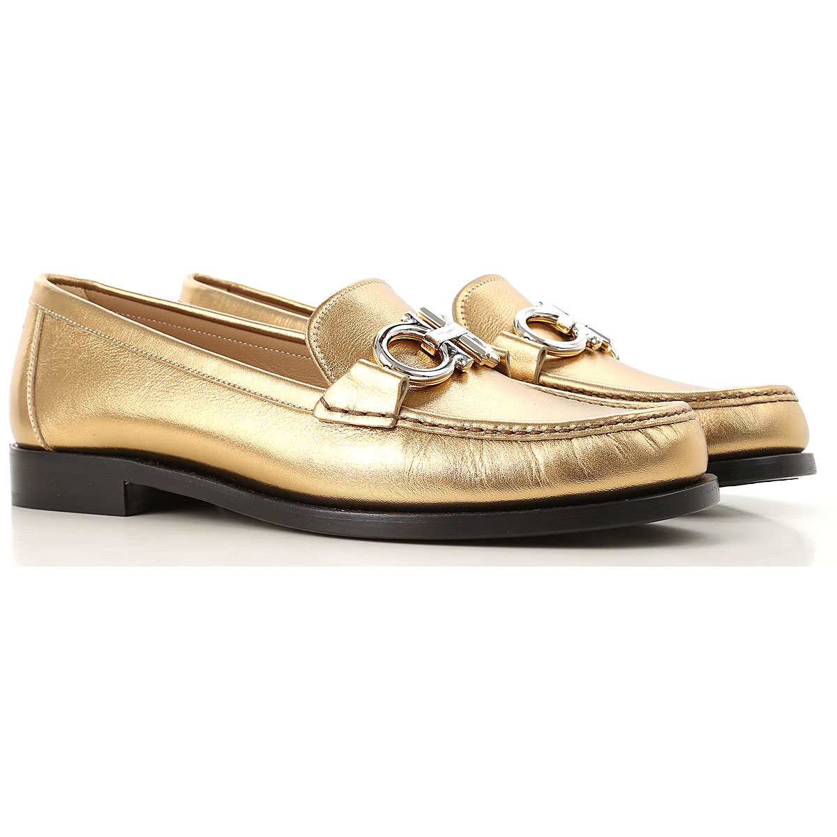 Salvatore Ferragamo Loafers for Women in Outlet Gold USA - GOOFASH