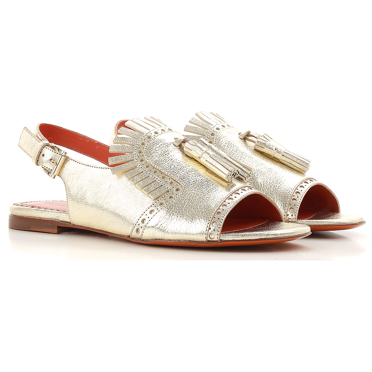 Santoni Sandals for Women in Outlet Gold USA - GOOFASH