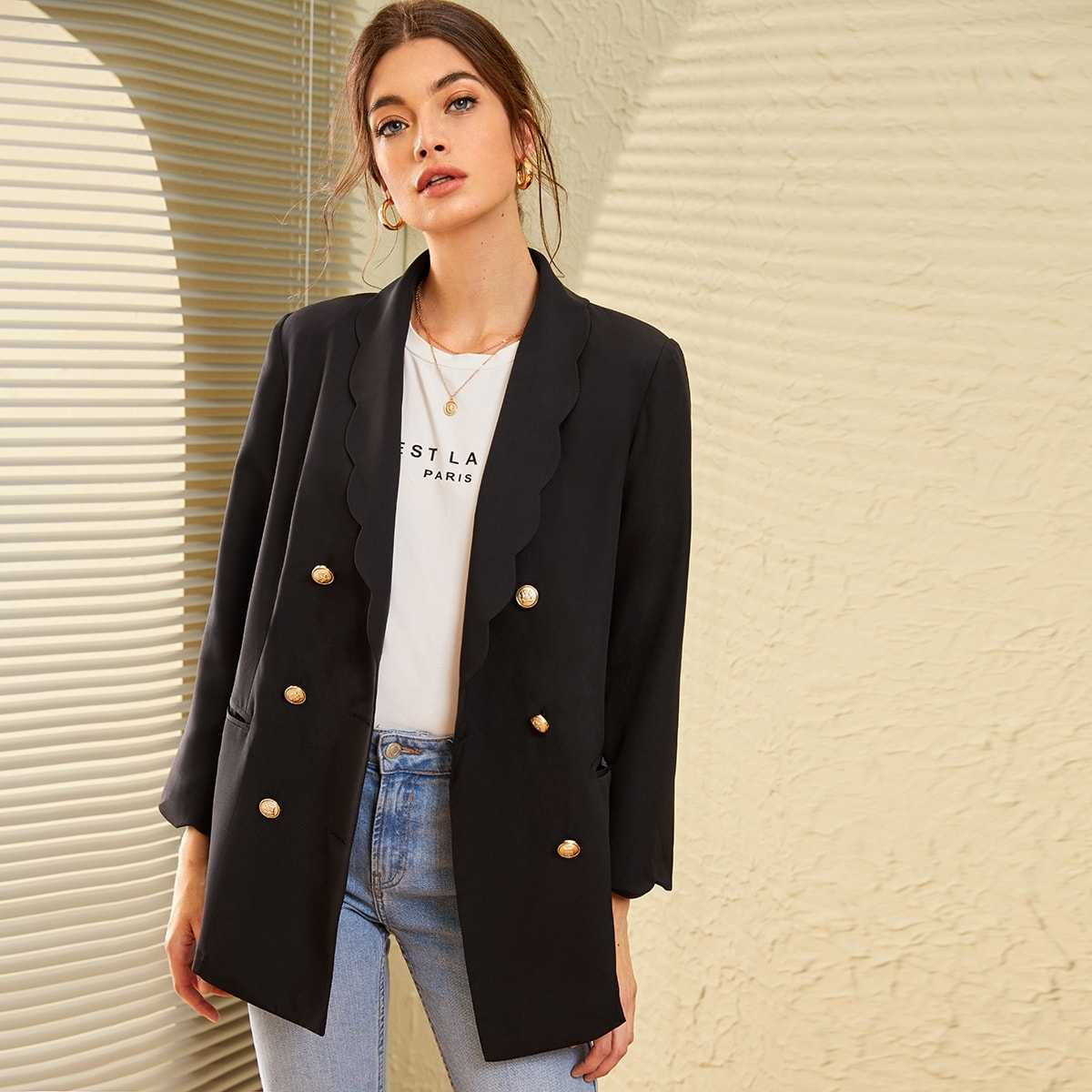 Scallop Shawl Collar Gold Button Front Blazer in Black by ROMWE on GOOFASH