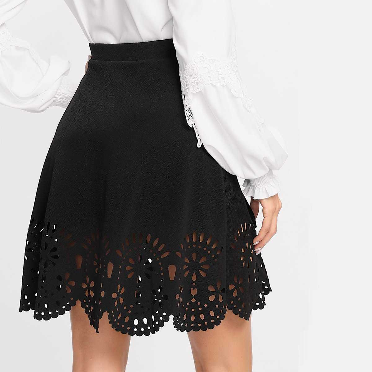 Scalloped Laser Cut Trim Skirt in Black by ROMWE on GOOFASH