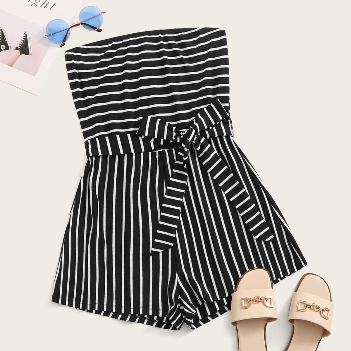Self Belted Striped Tube Romper in Black by ROMWE on GOOFASH