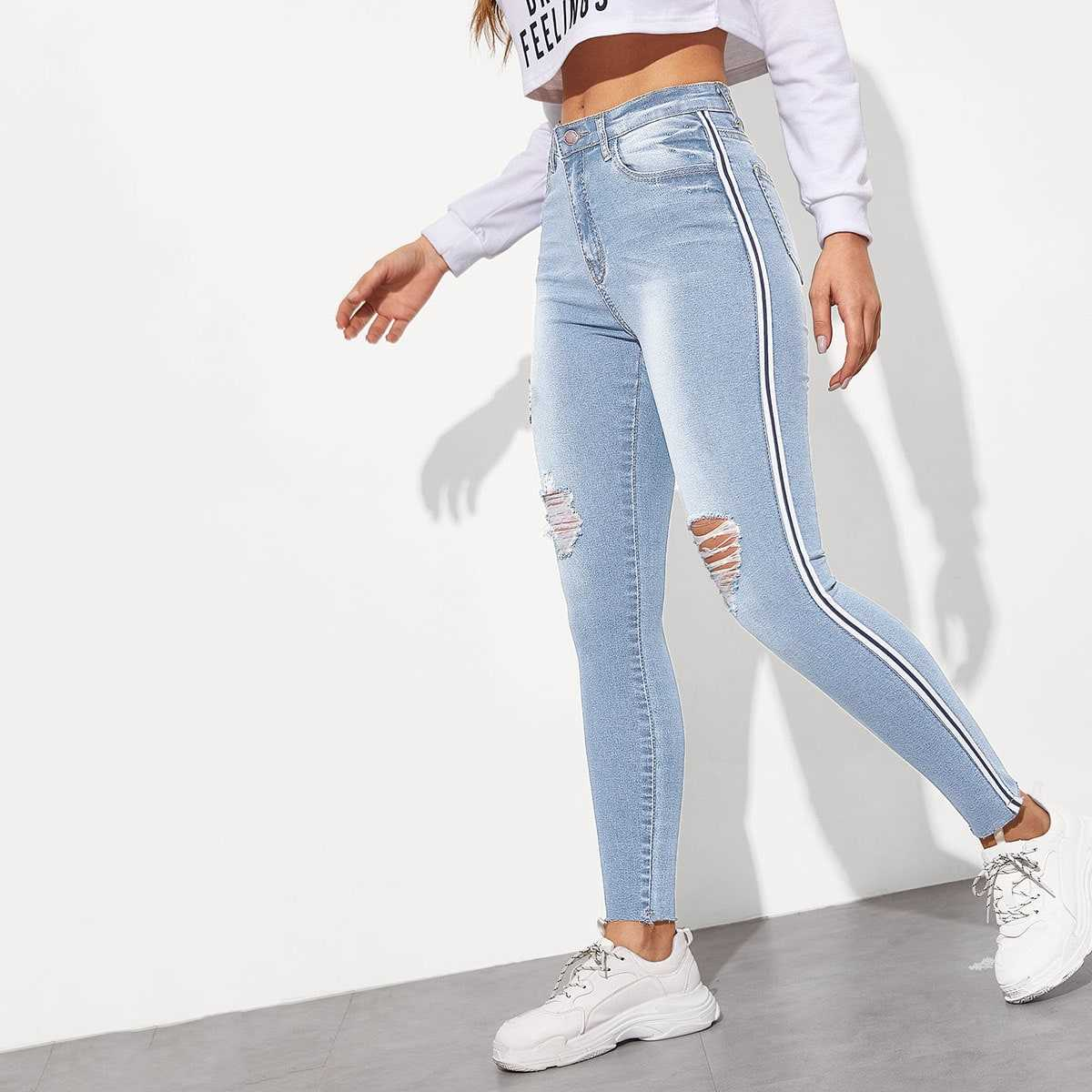 Side Striped Ripped Wash Jeans in Blue by ROMWE on GOOFASH