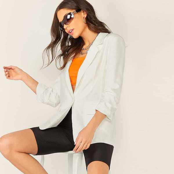 Single Button Gathered Sleeve Blazer in White by ROMWE on GOOFASH