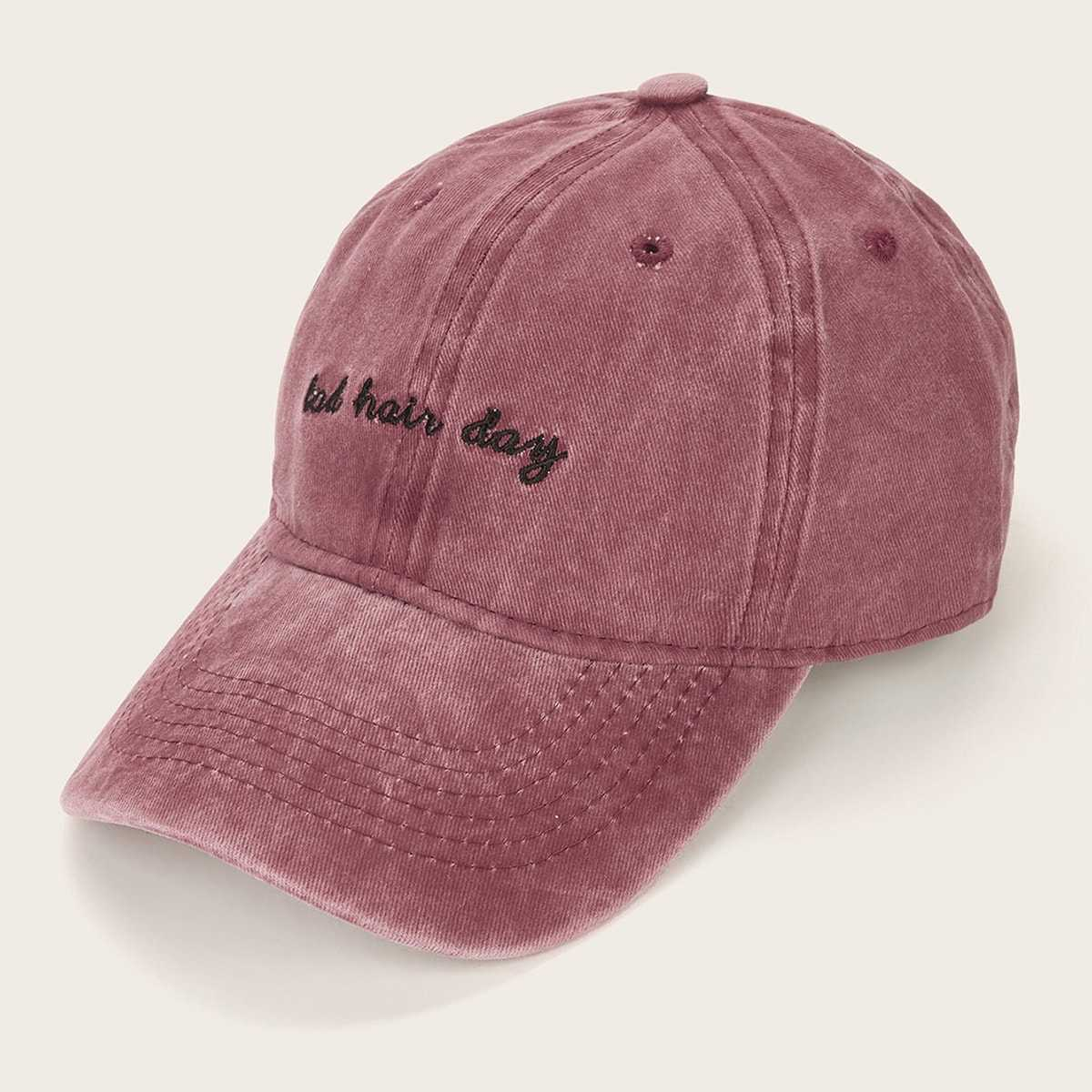Slogan Embroidery Baseball Cap in Red by ROMWE on GOOFASH