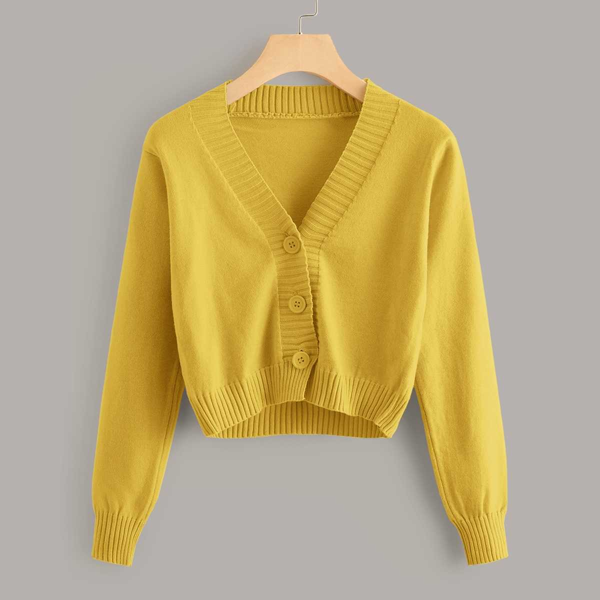 Solid Button Through Crop Cardigan in Yellow by ROMWE on GOOFASH