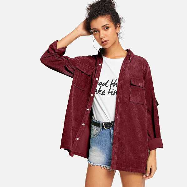 Solid Double Pocket Corduroy Coat in Burgundy by ROMWE on GOOFASH