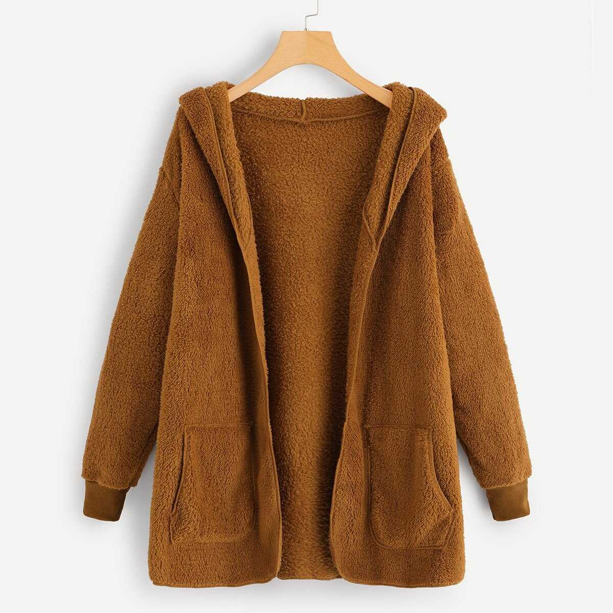 Solid Hooded Teddy Coat in Brown by ROMWE on GOOFASH