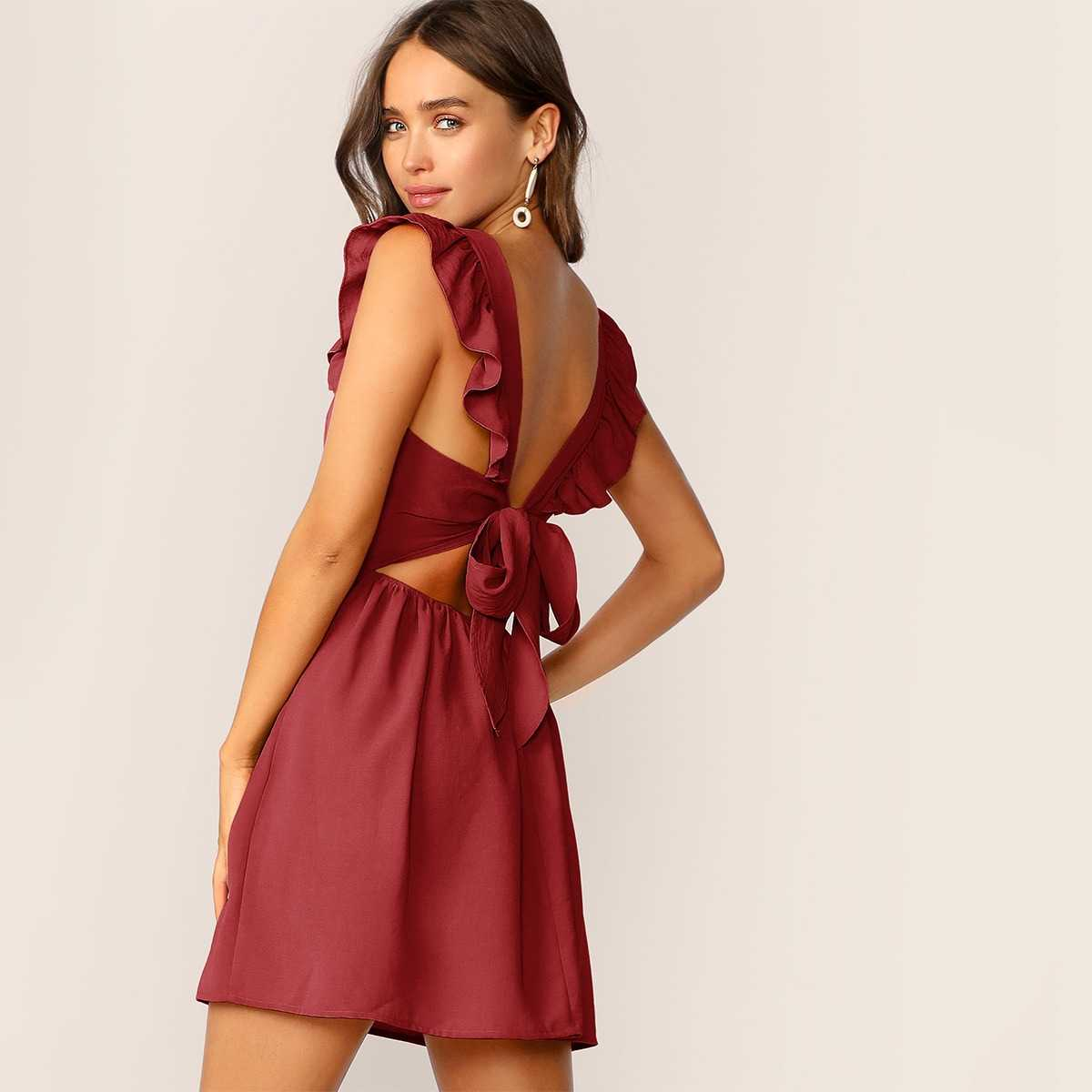 Solid Ruffle Trim Tie Back Fit & Flare Dress in Burgundy by ROMWE on GOOFASH