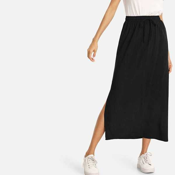 Split Side Column Skirt in Black by ROMWE on GOOFASH
