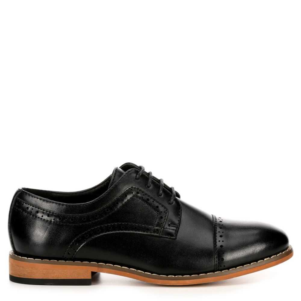 Stacy Adams Boys Dickinson Cap Toe Black USA - GOOFASH