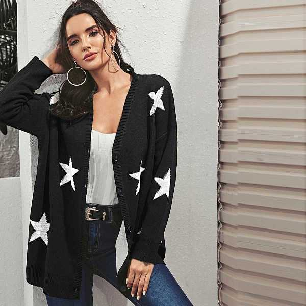 Star Button Front Cardigan in Black by ROMWE on GOOFASH