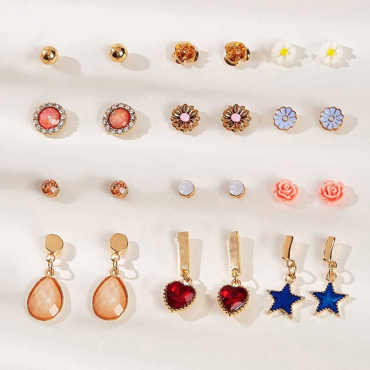 Star & Heart Design Earrings 12pairs in Multicolor by ROMWE on GOOFASH