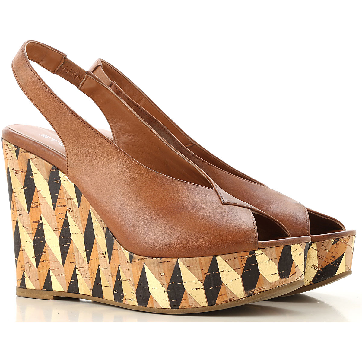 Strategia Wedges for Women On Sale Leather Brown SE - GOOFASH