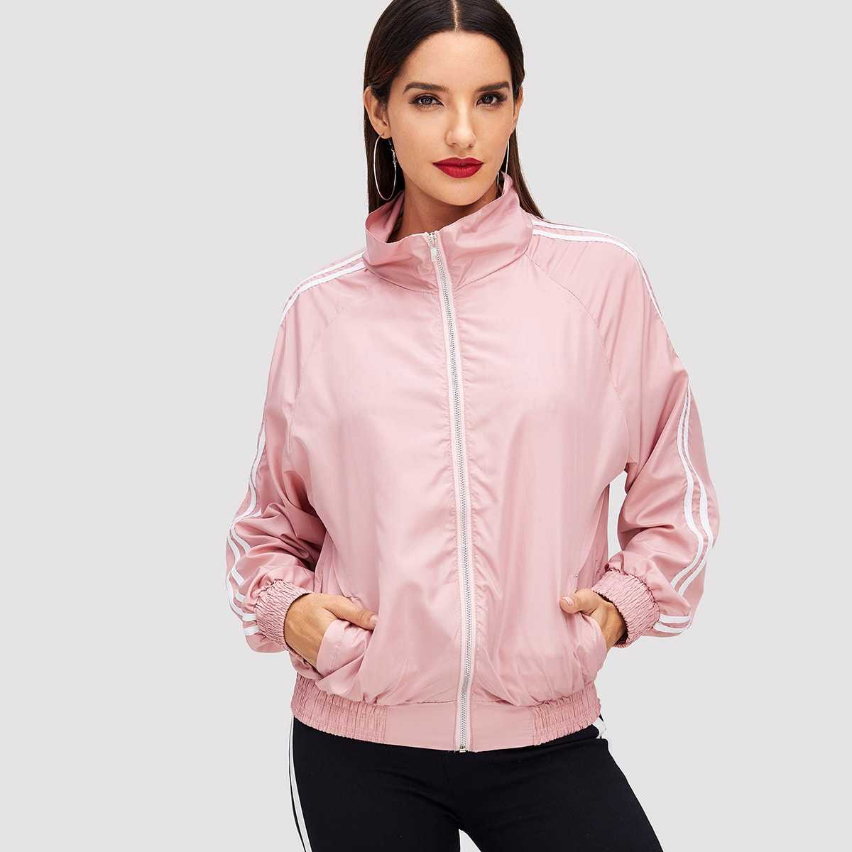Stripe Contrast High Neck Jacket in Pink by ROMWE on GOOFASH