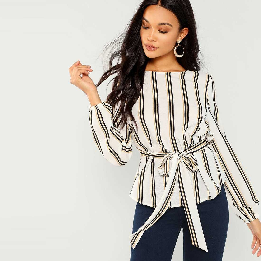 Striped Belted Top in Multicolor by ROMWE on GOOFASH