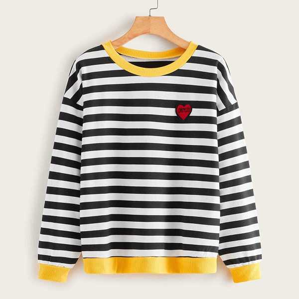 Striped Embroidery Ringer Sweatshirt in Black and White by ROMWE on GOOFASH
