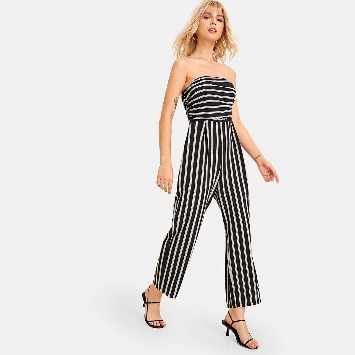 Striped Print Tube Jumpsuit in Black and White by ROMWE on GOOFASH