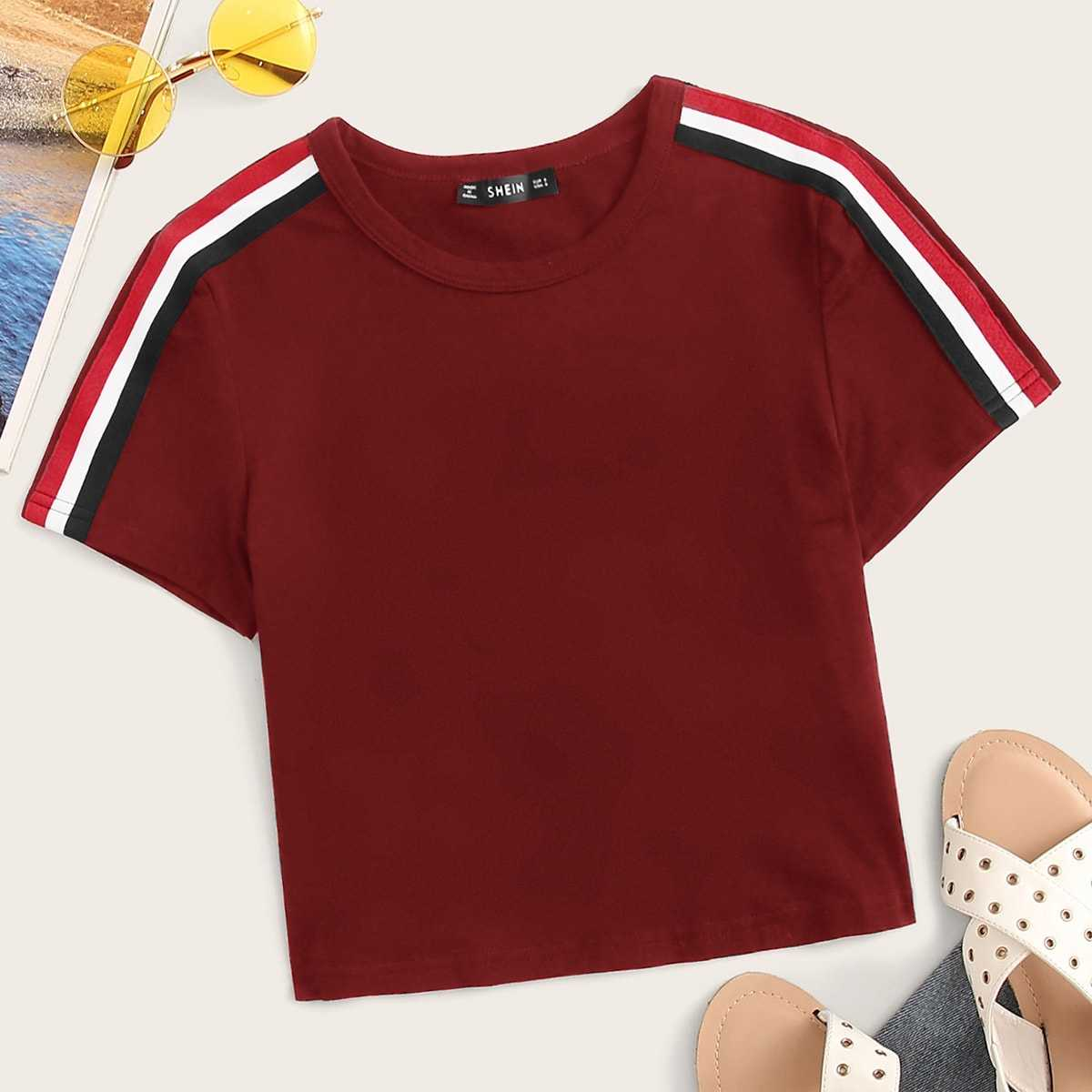 Striped Tape Detail Short Sleeve Top in Burgundy by ROMWE on GOOFASH