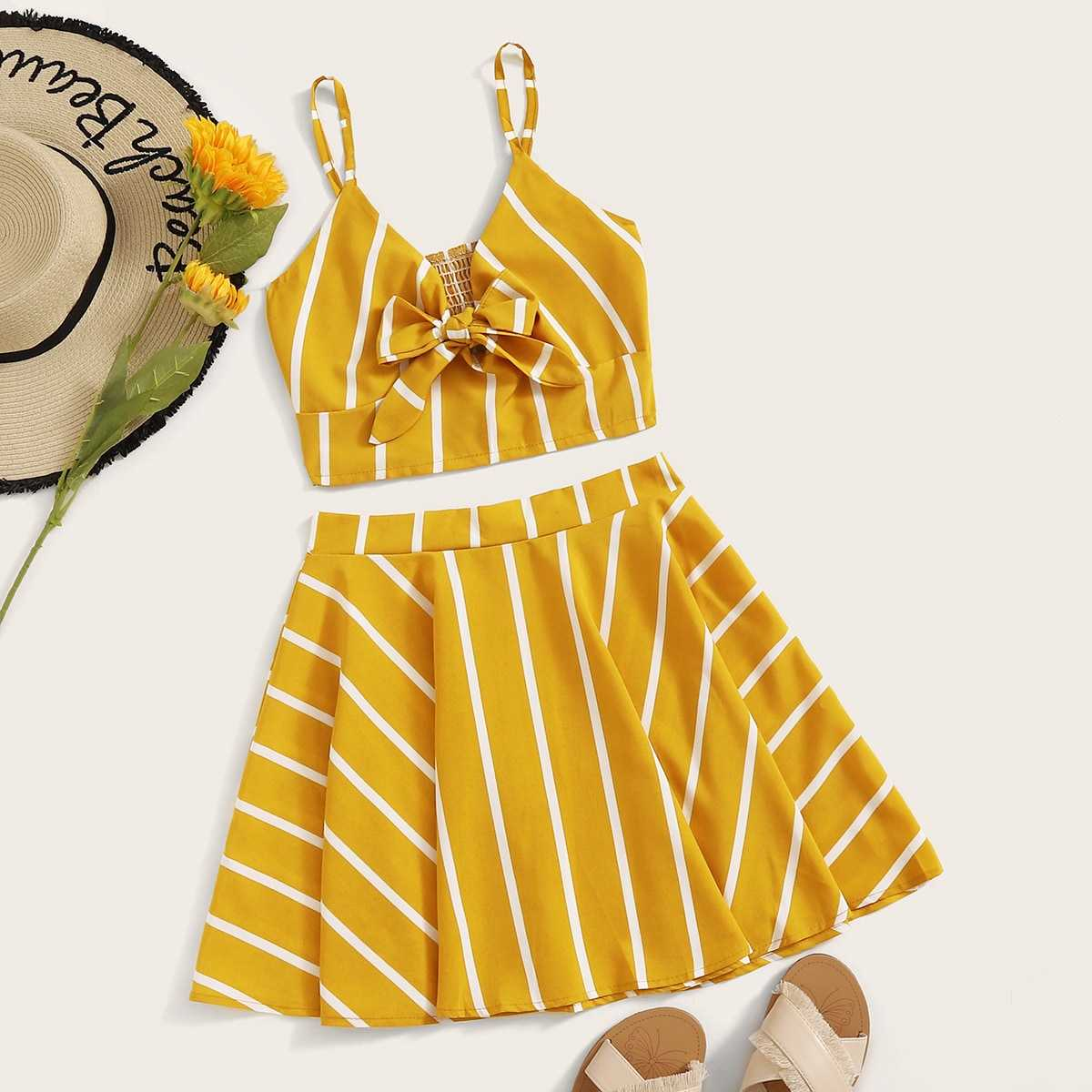 Striped Tie Front Shirred Cami Top With Skirt in Yellow by ROMWE on GOOFASH