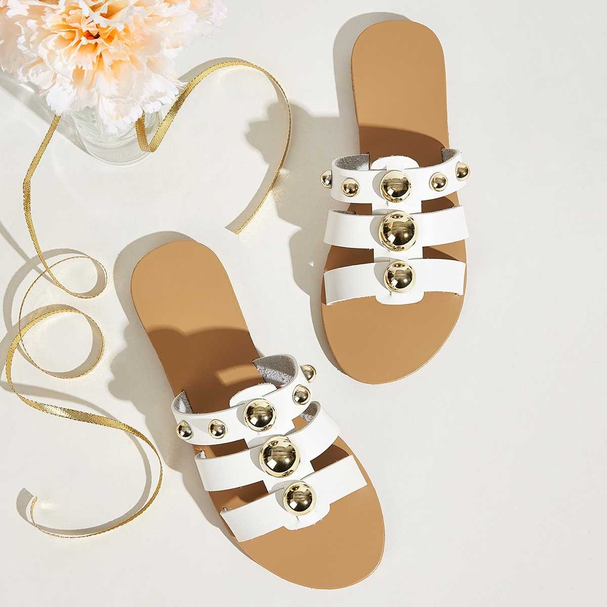Studded Decor Flat Sliders in White by ROMWE on GOOFASH