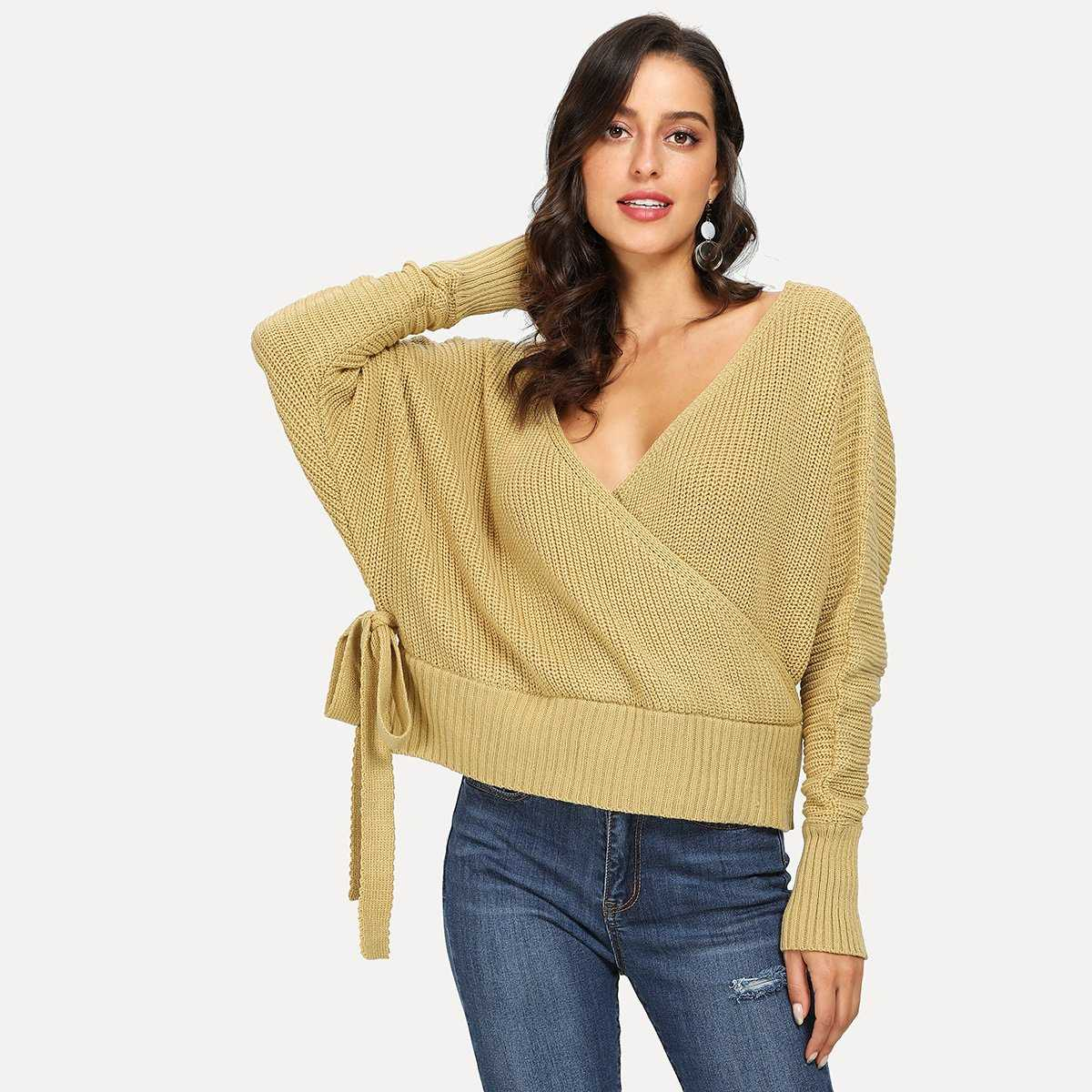 Surplice Neck Knot Side Sweater in Yellow by ROMWE on GOOFASH